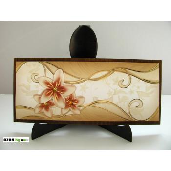 Цветя - луксозна дървена картичка
