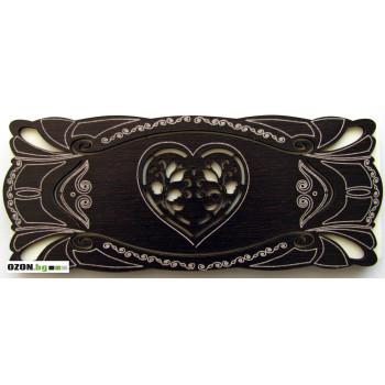 Сърце - хармоника Луксозна дървена картичка