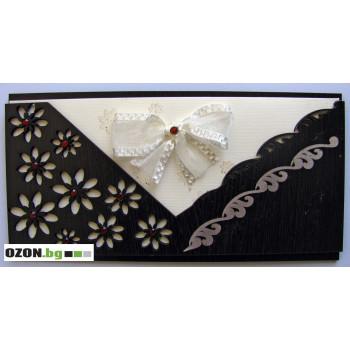Луксозна дървена картичка с бяла панделка