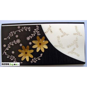 Луксозна дървена картички - Златни маргаритки