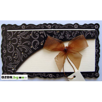 Луксозна дървена картичка - Кафява панделка-филигран