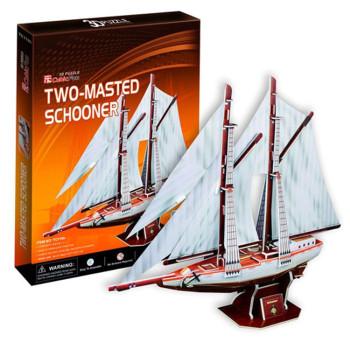 Дву-мачтова лодка 3D Пъзел
